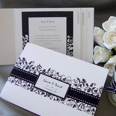 Black and White Wedding Invitation Card Qty 25  by Design4Eternity, £115.00
