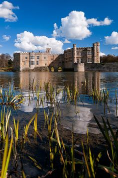 Leeds Castle viewed from across the moat in Kent, England.
