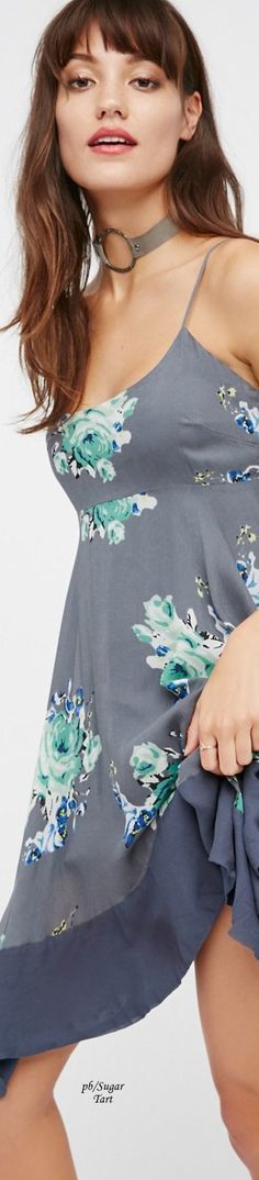 @roressclothes clothing ideas #women fashion gray floral dress