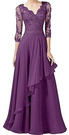 Abendkleid Victory Bridal Gorgeous Lace Long Sleeve Evening Dresses Ball Gowns V Neck Long Chiffon M Mother Of The Bride Dresses Long, Mothers Dresses, Mom Dress, Lace Dress, Beautiful Gowns, Beautiful Outfits, Ball Dresses, Ball Gowns, Chiffon Dresses