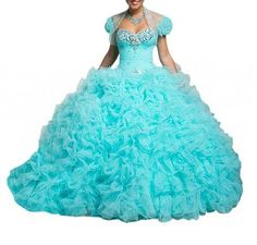 Prom+Dresses+That+Are+Puffy | light blue puffy princess quinceanra formal ball gown prom dresses ...
