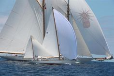 by Tim Wright. This is Dorade in the foreground and Elena behind. DORADE won its Vintage Class in the 2012 Antigua Classic Yacht Regatta,
