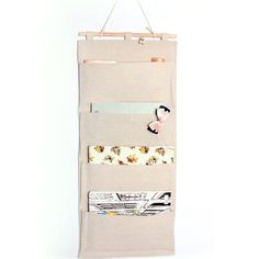 "Linen/Cotton Fabric Wall Door Closet Hanging Storage Bag Books Organizational Back to School Office Bedroom kitchen rectangle 4 Pocket Home Organizer Gift ,13.8""W x 31.5""H (4 Pockets - Beige white): Amazon.co.uk: Kitchen & Home"