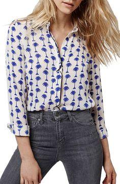 Topshop Topshop Palm Print Long Sleeve Shirt available at #Nordstrom