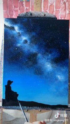 Simple Canvas Paintings, Easy Canvas Art, Small Canvas Art, Acrylic Art, Acrylic Painting Canvas, Galaxy Painting, Night Sky Painting, Purple Painting, Canvas Painting Tutorials