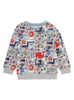 Add a touch of colour to his seasonal collection with this sea-inspired sweat. Crafted from a cotton rich material, this long-sleeved design will become a staple in his growing wardrobe.  Boys multicoloured pattern sweat Sea-inspired design Crew neck Long sleeves Cotton rich Keep away from fire