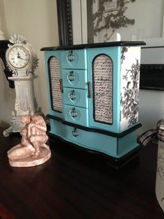 Upcycled Tiffany Blue Hand Painted and Decoupage jewelry box