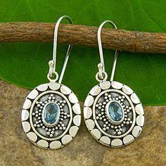 Sterling Silver Blue Topaz Motif Earrings (Indonesia)