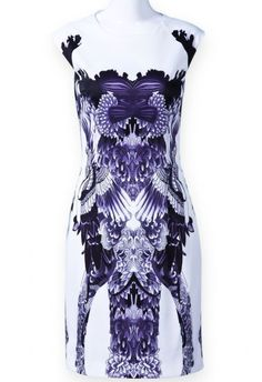 White Sleeveless Purple Floral Bodycon Dress pictures