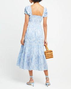 Square Neck Smocked Maxi Dress