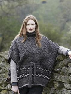 Ennerdale - Knit this ladies belted poncho from Lakeland. Designed by Marie Wallin using our 100% British wool, British Sheep Breeds Undyed (wool), this...