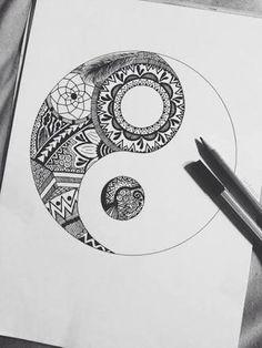 Yin yang and zentangle Hipster Drawings, Tumblr Drawings, Doodle Drawings, Easy Drawings, Girl Drawings, Pencil Drawings, Flower Drawings, Drawing Flowers, Zentangle Patterns