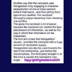 """Gena Da Silva on Instagram: """"This is an excerpt from the eBook that I have written about  NPD and narcissistic abuse. The title of my eBook is 'Identifying and Defeating The Psychological Terrorists in Your Life' ."""" #narcissists #triangulation #drama"""