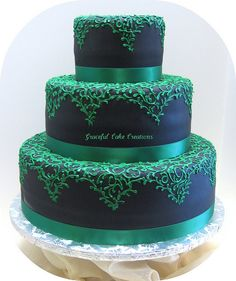 Lace Wedding Cakes Black Fondant Wedding Cake with Emerald Green Lace Design by Graceful Cake Creations. i love this idea, wedding cakes don't have to be traditional white. Fondant Wedding Cakes, White Wedding Cakes, Cool Wedding Cakes, Lace Wedding, Gothic Wedding, Purple Wedding, Wedding Stuff, Wedding Ideas, Gorgeous Cakes
