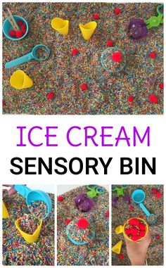 Fine motor skills, pretend play, and exploring are all involved while playing in the ice cream toppings sensory bin! Perfect for summer and ice cream themes.