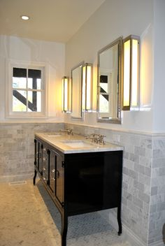restoration hardware pharmacy vanity double pharmacy vanity with three sconces and inset medicine cabinets