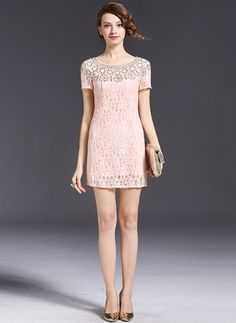 Lace Solid Short Sleeve Above Knee Casual Dresses