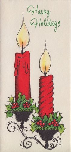 Retro Christmas Card - Happy Holidays Candles
