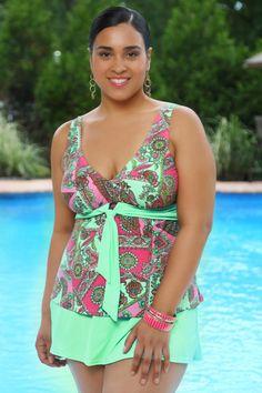 Women's Plus Size Swimwear - Always 4 Me Trinidad 2 Pc Skirtini #1550