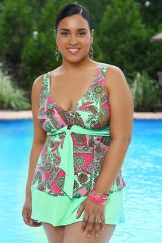 Women's Plus Size Swimwear - Always 4 Me Trinidad 2 Pc Skirtini #1550
