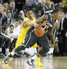 Trey Burke steals the ball from Michigan State Keith Appling and made a break away dunk for a two point lead with less the twenty seconds in the game.