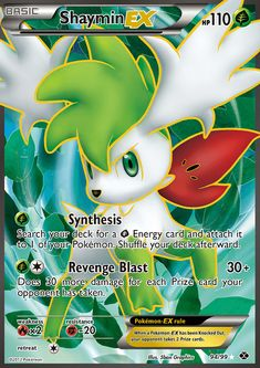 [G] Synthesize: Search your deck for a [G] Energy card and attach it to 1 of your Pokémon. Shuffle your deck afterward. [G][C] Revenge Blast: damage. Does 30 more damage for each Prize card your opponent has taken. Pokemon Full Art, Cool Pokemon Cards, Rare Pokemon Cards, Pokemon Toy, Pokemon Trading Card, Pokemon Stuff, Pokemon Online, Pokemon Breeds, Pokemon Heart Gold