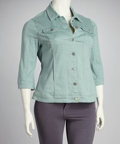 Take a look at this Live A Little Seafoam Denim Plus-Size Jacket by Live A Little on #zulily today!