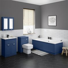 Simple Solutions To Problems With Your Plumbing – Plumbing Traditional Bathroom Suites, Traditional Baths, Bath Front Panel, Bath Panel, Basin Vanity Unit, Vanity Units, Double Ended Bath, Matt And Blue, Concealed Cistern