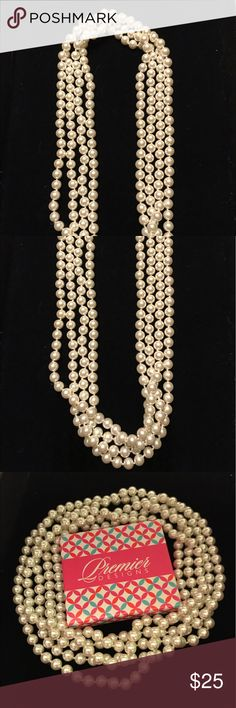 "Premier Designs Opening Night Necklace Faux pearls 90"" endless necklace. Premier Designs Jewelry Necklaces"