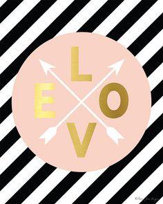 Pink Gold Love Arrows Digital Printable Art by PennyJaneDesign