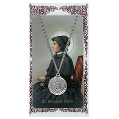"Amazon.com: Catholic Saints Necklace for Men or Women, Pewter Silver St. Elizabeth Ann Seton Medal & 18"" Chain, Prayer Card. Religious, Insp..."