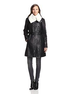 Vince Camuto Women's Faux Shearling Coat (Black/White)