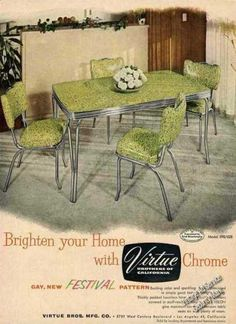 """Virtue Brothers of California Chrome Table (1954) """"gay, new FESTIVAL pattern"""""""