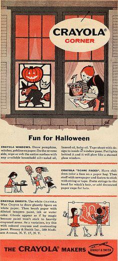 All sizes   Crayola Halloween, 1958, via Flickr. Vintage Halloween Images, Retro Halloween, Halloween Signs, Holidays Halloween, Spooky Halloween, Halloween Crafts, Happy Halloween, Halloween Decorations, Halloween Stuff
