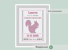 cross stitch baby birth sampler, birth announcement, squirrel, woodland, girl, DIY customizable pattern** instant download**