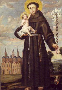 Santo Antônio com o Menino Jesus em pintura de Stephan Kessler. © Domínio Público