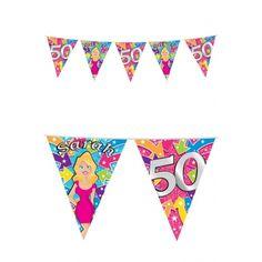 50 jaar Sarah vlaggenlijnen  Sarah 50 jaar feest vlaggetjes van 10 meter. Materiaal: plastic.  EUR 2.75  Meer informatie