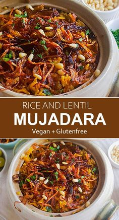 Mujadara is a deliciously simple Middle Eastern dish of rice and lentils garnished with caramelized onions. It is a vegan budget-friendly delicious and nutritious recipe. This unique and simple dish will surprise your taste buds in the best way possible. Healthy Food Recipes, Vegan Dinner Recipes, Vegetarian Meals, Vegan Dinners, Veggie Recipes, Indian Food Recipes, Whole Food Recipes, Cooking Recipes, Vegan Lentil Recipes
