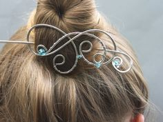 Hair Slide Silver Blue Aquamarine Crystals by CopperStreetStudios