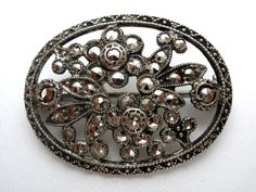 Flower Brooch Sterling Silver Marcasite by TheJewelryLadysStore