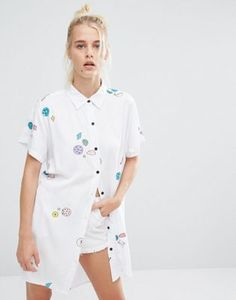 Lazy Oaf Oversized Shirt With Planets & Space Print