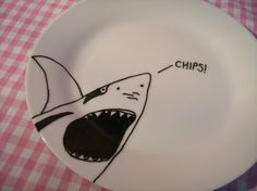 Items similar to Decorative Shark Plate on porcelain featuring a hand drawn illustration on Etsy Sharpie Designs, Sharpie Projects, Sharpie Crafts, Diy Sharpie Mug, Sharpie Doodles, Sharpie Plates, Sharpie Paint Pens, Fun Crafts For Kids, Craft Activities For Kids