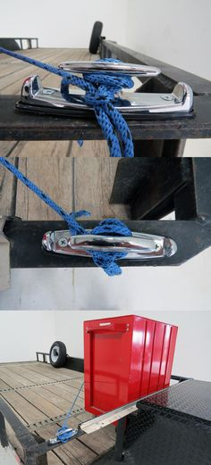 One of many useful trailer accessories that make hauling equipment and tools easier! These strong steel cleats install in your truck bed, trailer or any where-tie downs are needed. A great trailer idea for the handy man or woman!