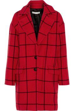 Manteau en laine rouge à carreaux, Rebecca noir, Minkoff