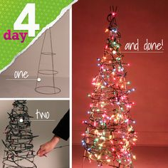 Make your own light-up Christmas tree with a tomato cage!  NJ Crafty Momma