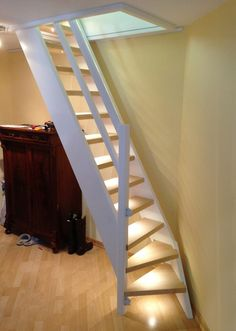 Loft ladder with small turn at the bottom to save space boys room Tiny House Stairs, Attic Stairs, Attic Ladder, Loft Ladders, Garage Stairs, Small Attics, Small Spaces, Space Saving Staircase, Attic Rooms