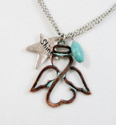 Cowgirl Bling ANGEL WINGS Shine star TURQUOISE PATINA COPPER Necklace set