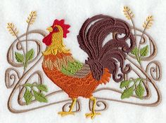 Art Noveau Rooster Embroidered Flour Sack by EmbroideryEverywhere, $14.99