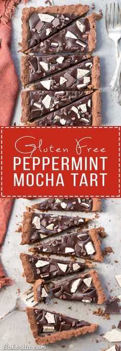 This Gluten-Free Peppermint Mocha Tart has a chocolate shortbread crust filled with a luscious peppermint mocha chocolate ganache! This quick + easy dessert is perfect for the holidays. #HolidayDelight #IDelight #ad