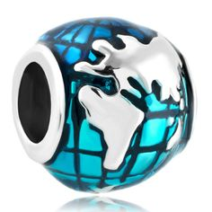 Charms Beads - ocean blue earth world globe silver plated beads charms bracelets fit all brands Image. #Travel #Jewelry #TravelJewelry